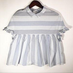 Zara Trafaluc Collection Blue White Striped Top S